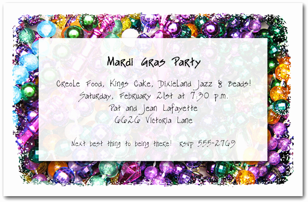 Mardi Gras Invitation Wording Unique Mardi Gras Beads Party Invitations