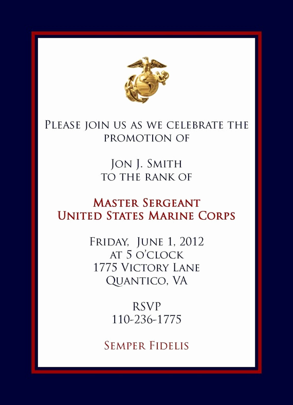Marine Corps Retirement Invitation Best Of Marine Promotional Announcement