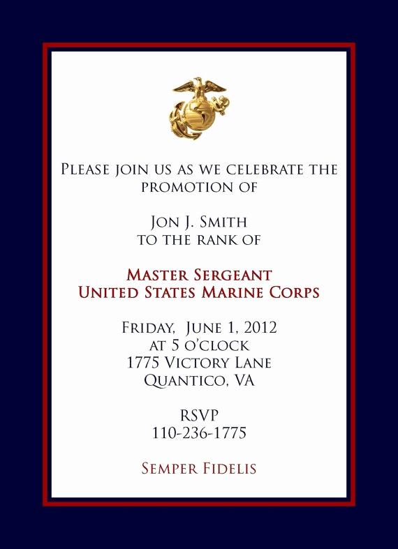 Marine Corps Retirement Invitation Best Of Marine Promotional Announcement