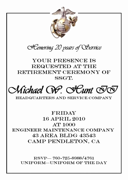 Marine Corps Retirement Invitation Best Of Usmc Retirement Ceremony Invitations