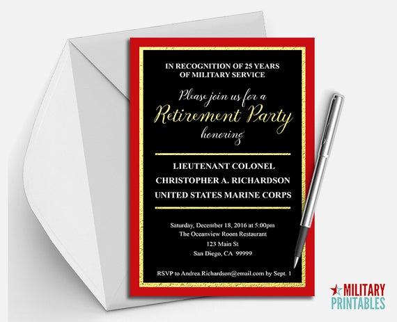 Marine Corps Retirement Invitation Inspirational Marine Corps Retirement Party Invitation Printable Editable