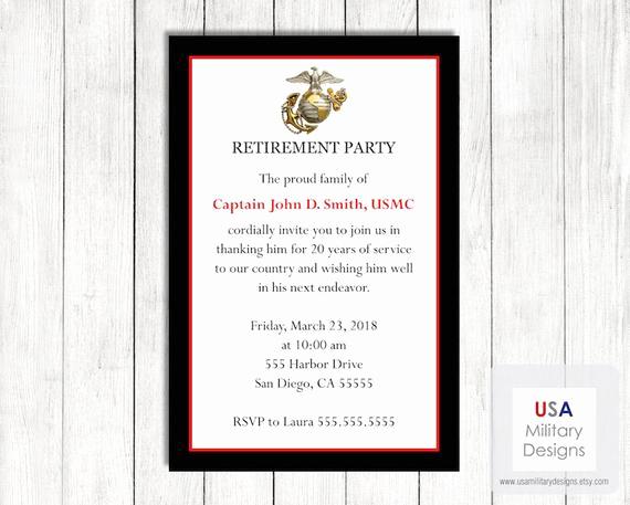 Marine Corps Retirement Invitation Luxury Marine Corps Retirement Invitation Printable Marine Corps