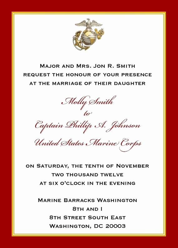 Marine Corps Retirement Invitation New Custom 5x7 Military Wedding Invitation Marine by