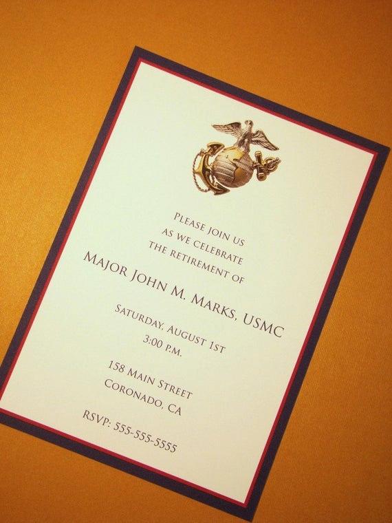 Marine Corps Retirement Invitation New Usmc Custom Invitations Marine Corps Any Occasion