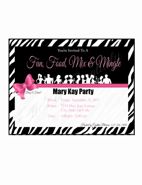 Mary Kay Debut Party Invitation Awesome Mary Kay Zebra Party Invitation