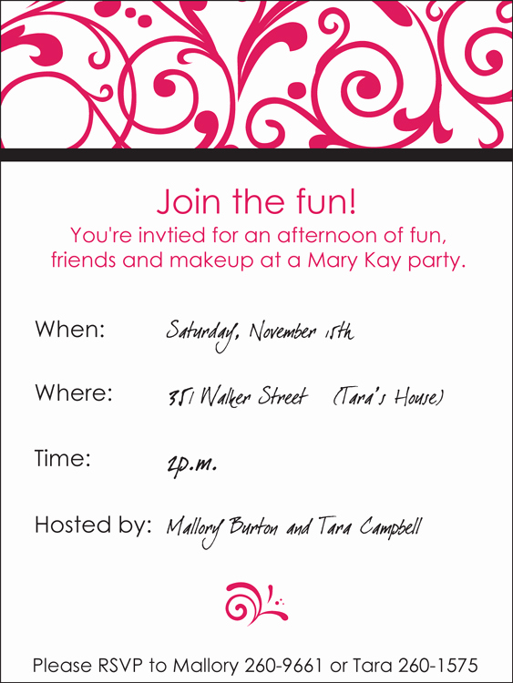 Mary Kay Debut Party Invitation Best Of Marykay Party Invite by Murp8408