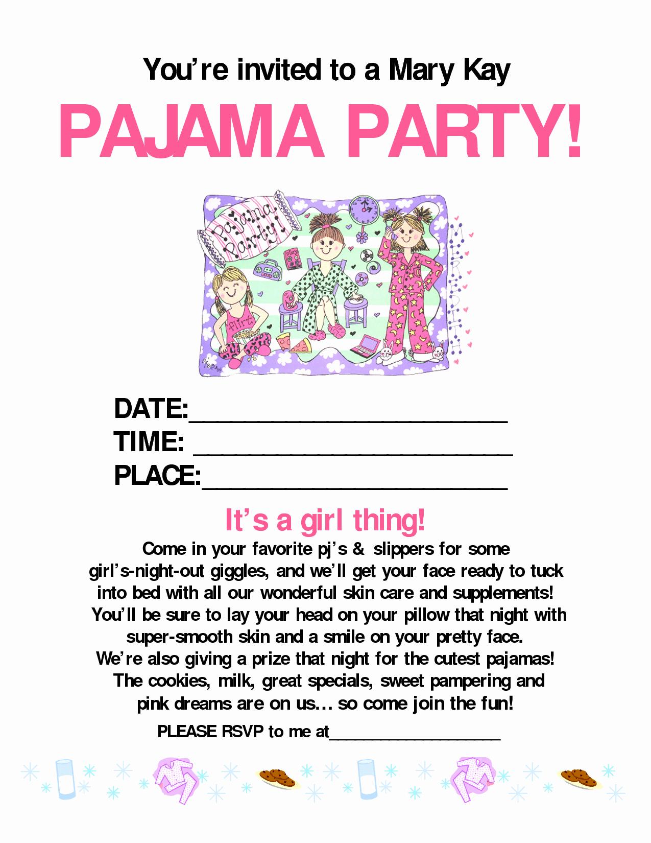 Mary Kay Invitation Template Inspirational Pajama Party Invitation