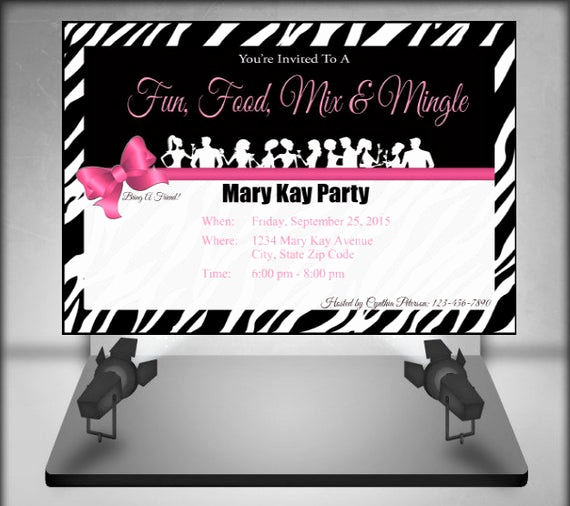 Mary Kay Party Invitation Templates Awesome Mary Kay Zebra Party Invitation by Ofcreativity On Etsy