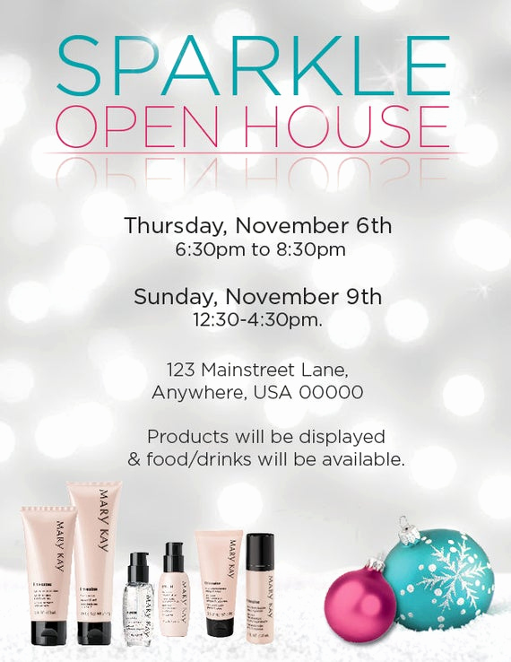 Mary Kay Party Invitation Templates Inspirational Items Similar to Mary Kay Sparkle Open House Invitation or