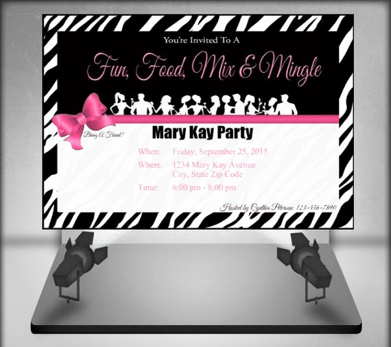 mary kay zebra party invitation