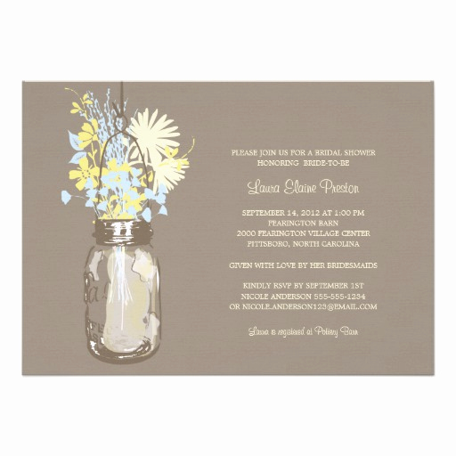 Mason Jar Bridal Shower Invitation Awesome Bridal Shower Mason Jar and Wildflowers Custom Invitations