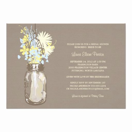 Mason Jar Bridal Shower Invitation Awesome Bridal Shower Mason Jar and Wildflowers Custom Invitations