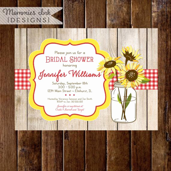 Mason Jar Bridal Shower Invitation Awesome Sunflower Bouquet In Mason Jar Bridal Shower Invite Barn Wood