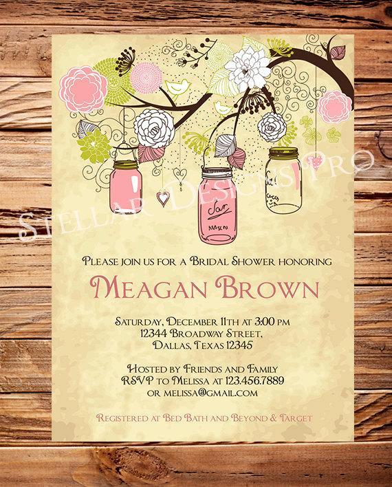 Mason Jar Bridal Shower Invitation Awesome Vintage Mason Jars Invitationvintage Bridal Shower