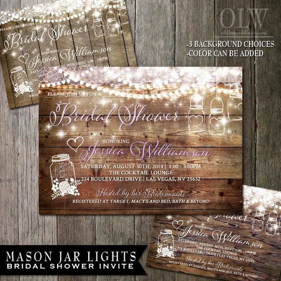 Mason Jar Bridal Shower Invitation Best Of Mason Jar Bridal Shower Invitation Rustic Wood with