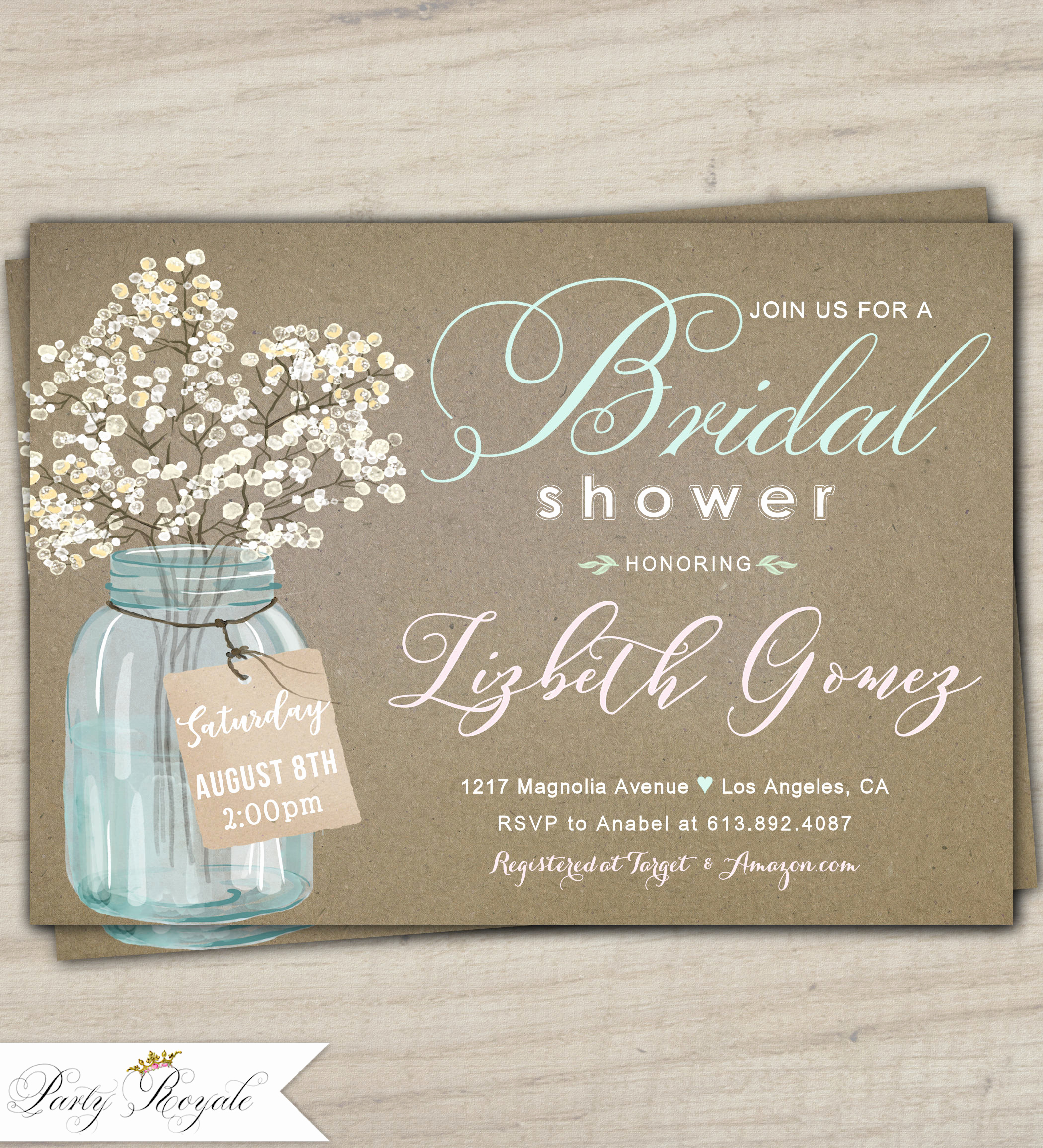 Mason Jar Bridal Shower Invitation Elegant Mason Jar Bridal Shower Invitations Kraft Bridal Shower