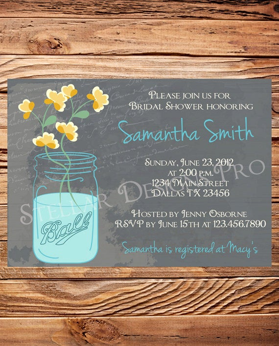 Mason Jar Bridal Shower Invitation Elegant Mason Jars Bridal Shower Invitationvintage by