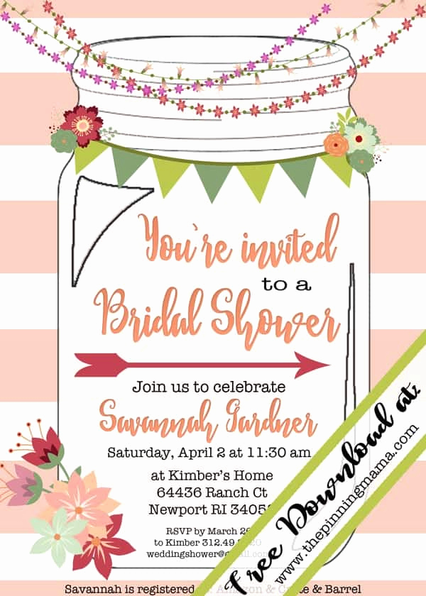 Mason Jar Bridal Shower Invitation Inspirational Free Printable Mason Jar Invitation
