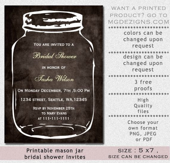 Mason Jar Bridal Shower Invitation Inspirational Rustic Mason Jar Bridal Shower Invitation
