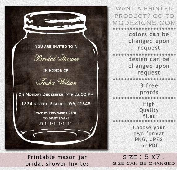 Mason Jar Bridal Shower Invitation Inspirational Rustic Mason Jar Bridal Shower Invitation