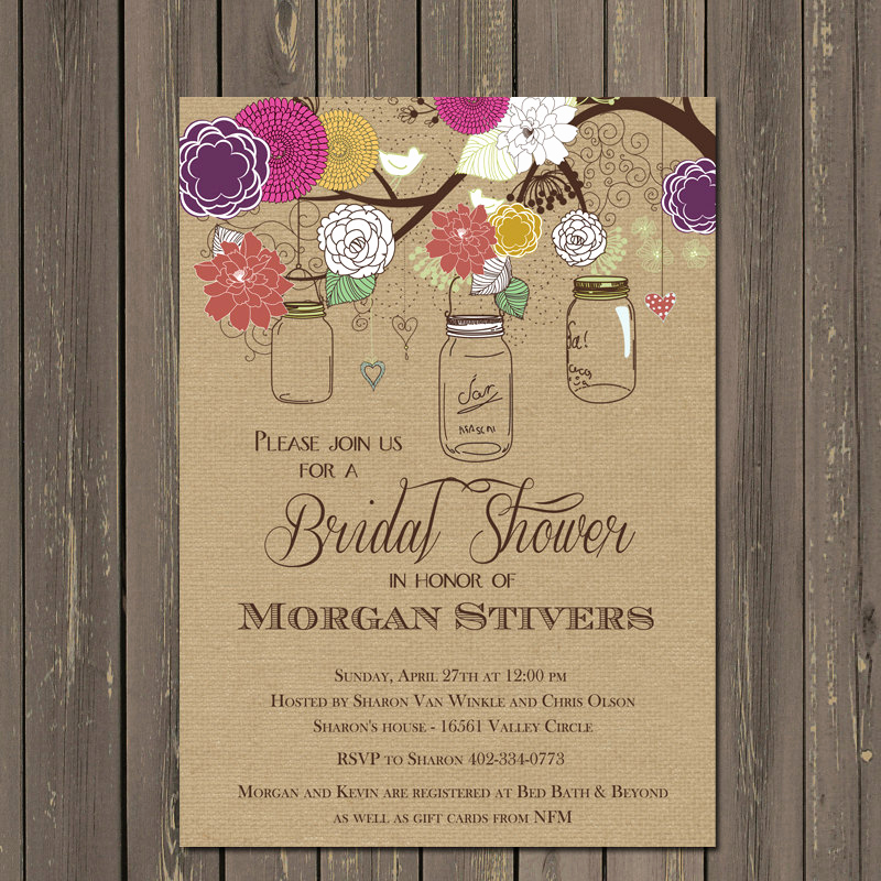 Mason Jar Bridal Shower Invitation Lovely Mason Jar Bridal Shower Invitations Rustic Mason Jar Invites
