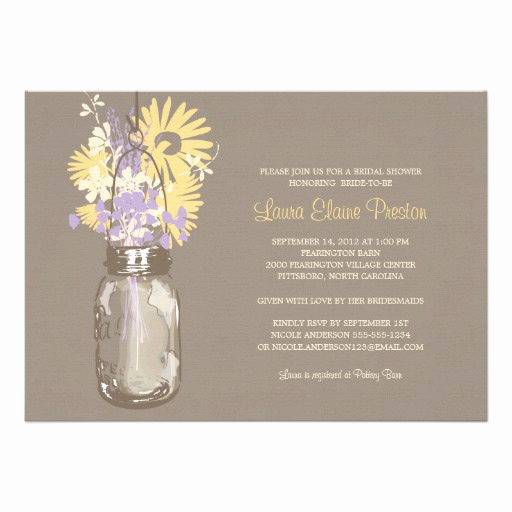 Mason Jar Bridal Shower Invitation Luxury Bridal Shower Mason Jar and Wildflowers Invitation
