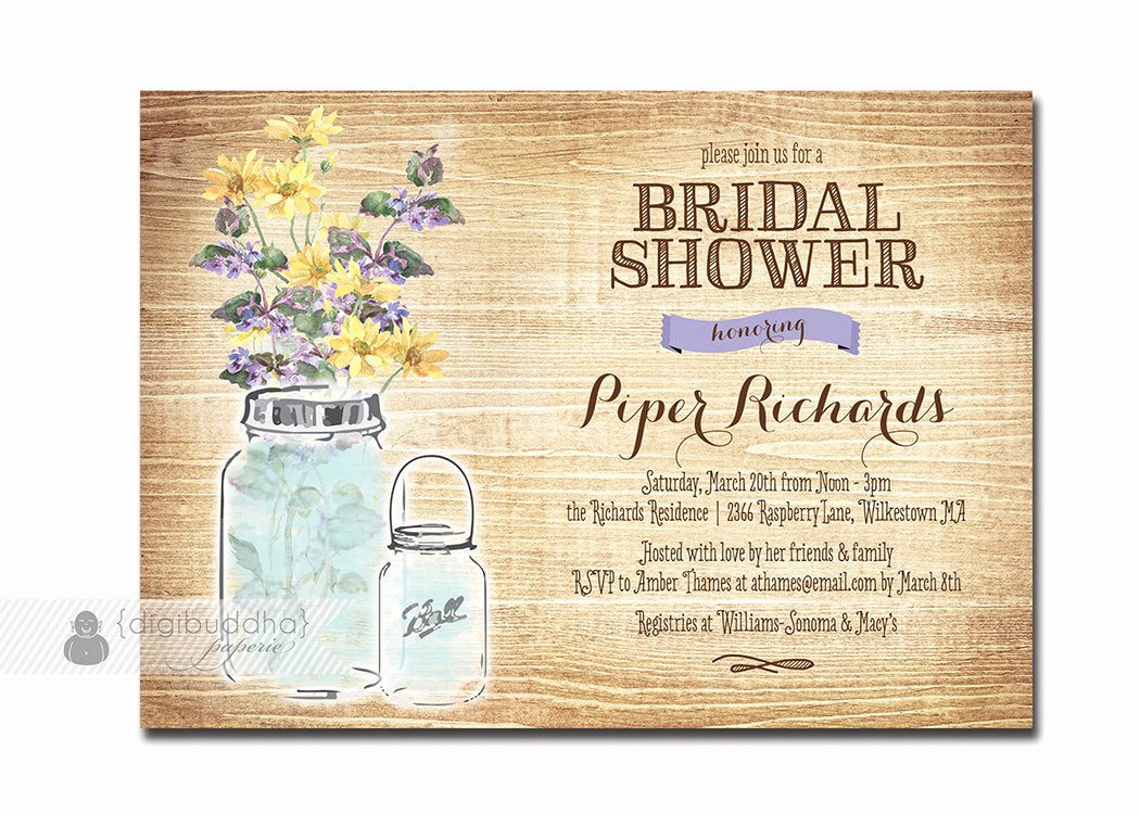 Mason Jar Bridal Shower Invitation Luxury Mason Jar Bridal Shower Invitation Rustic Wood Chic Watercolor