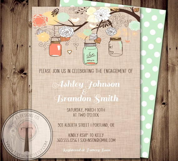 Mason Jar Bridal Shower Invitation New Engagement Party Invitation Mason Jar Invitation Bridal