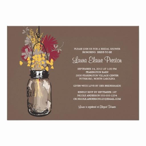 Mason Jar Bridal Shower Invitation Unique Bridal Shower Mason Jar and Wildflowers Custom Invites