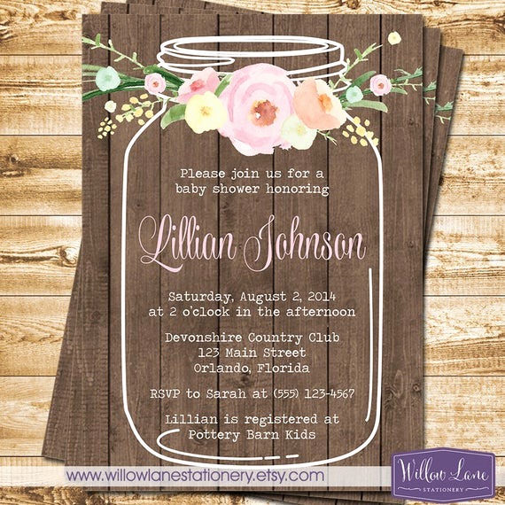 Mason Jar Bridal Shower Invitation Unique Watercolor Flower Mason Jar Baby Shower Invitation On Barn