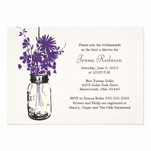Mason Jar Bridal Shower Invitation Unique Wild Flowers & Mason Jar Bridal Shower 5x7 Paper
