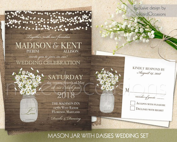 Mason Jar Invitation Template Awesome Mason Jar Wedding Invitation Printable Set Rsvp by