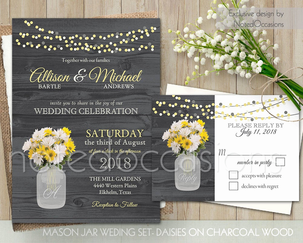 Mason Jar Invitation Template Awesome Mason Jar Wedding Invitations Set Rustic by Notedoccasions