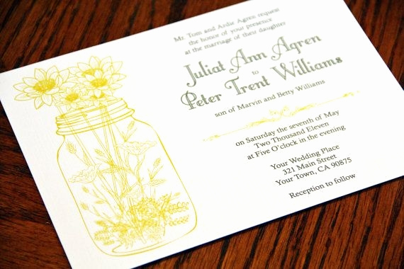 Mason Jar Invitation Template Beautiful Wedding Invitations and Rsvp Mason Jar and Wild Flowers