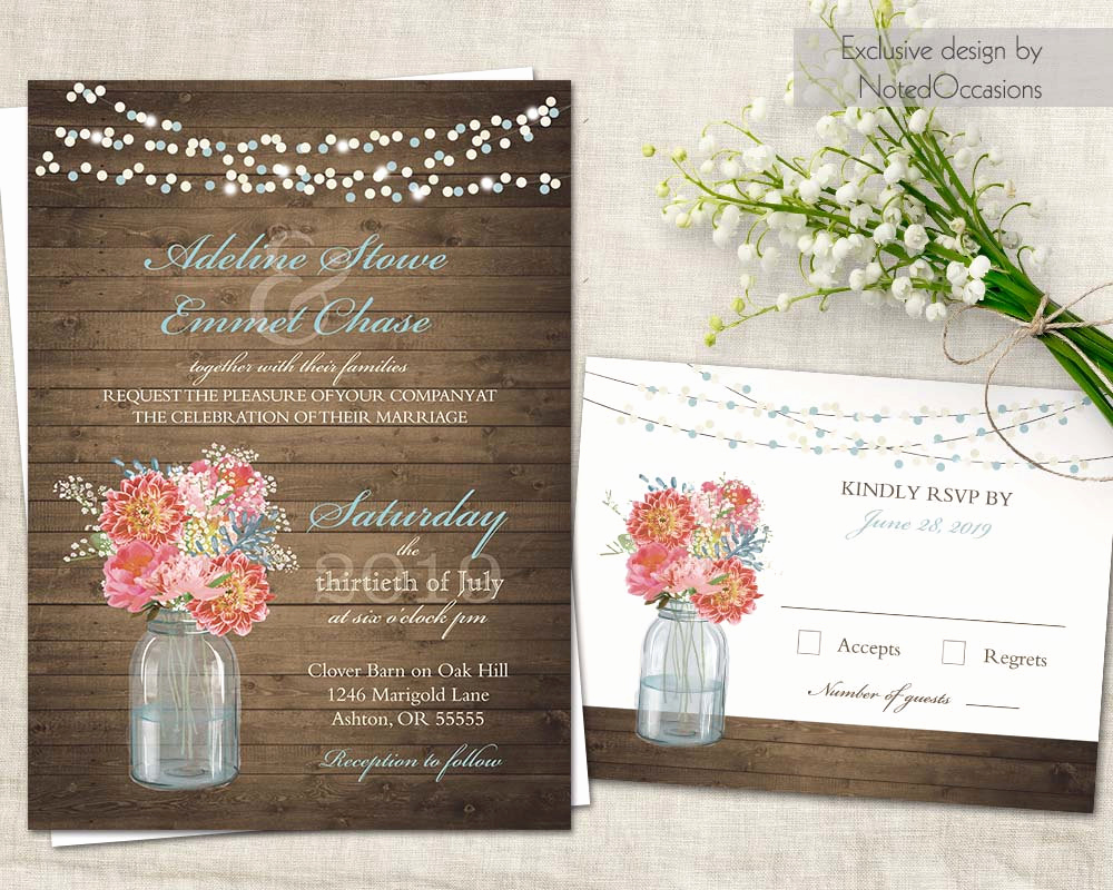 Mason Jar Invitation Template Best Of Mason Jar Wedding Invitations Rustic Wedding Kit Rsvp Cards