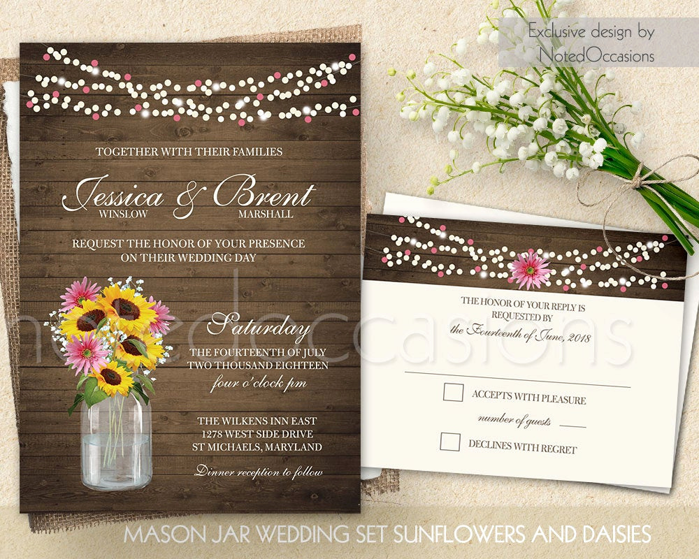 Mason Jar Invitation Template Elegant Mason Jar Wedding Invitation Printable Set by Notedoccasions
