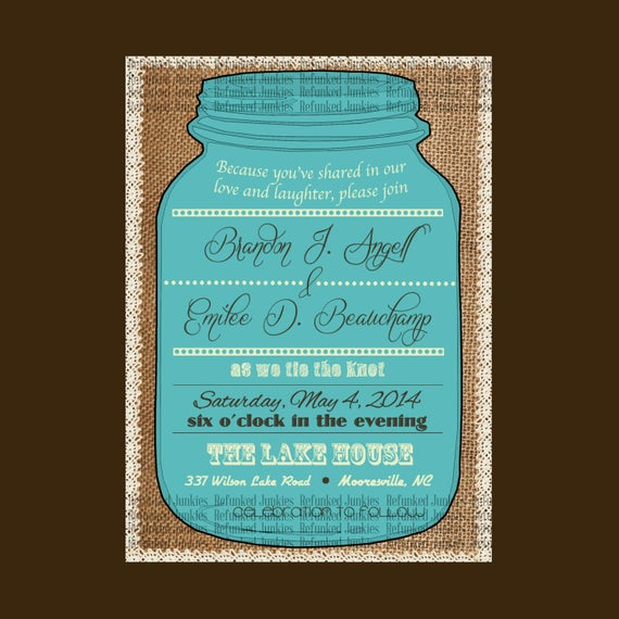 Mason Jar Invitation Template Fresh Template Mason Jar Invitationburlap Backgroundlace