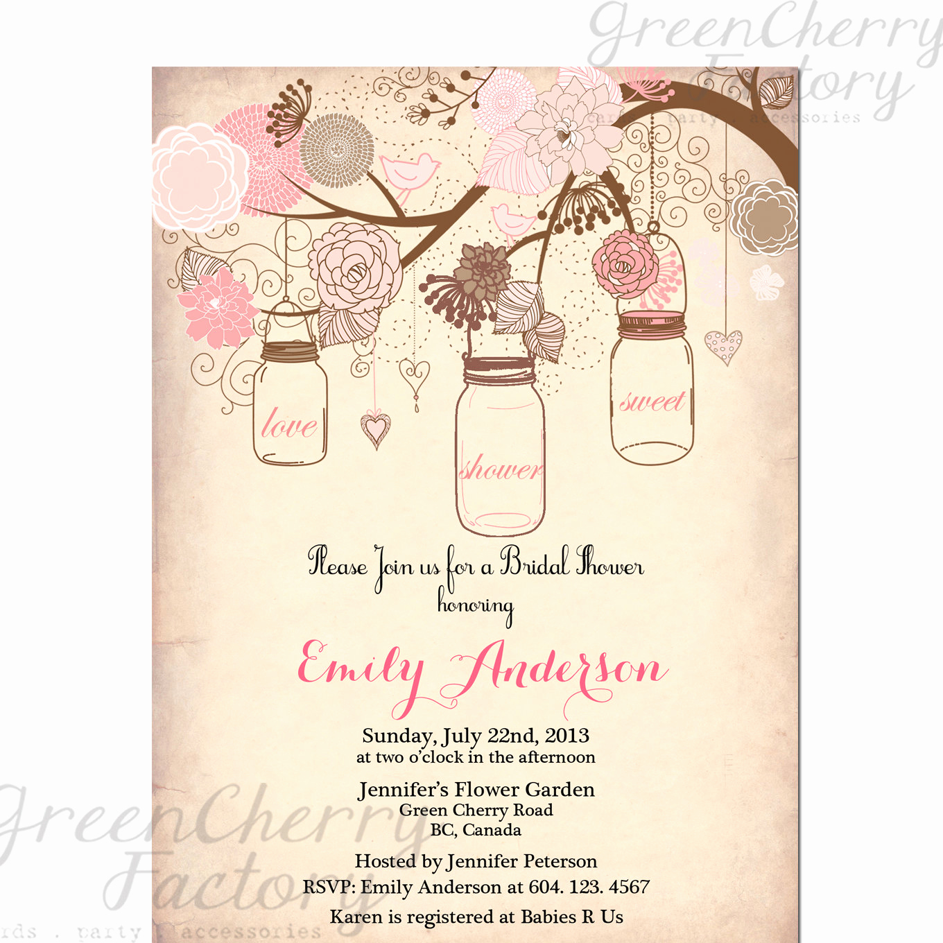 Mason Jar Invitation Template Inspirational Items Similar to Mason Jar Invitation Rustic Bridal