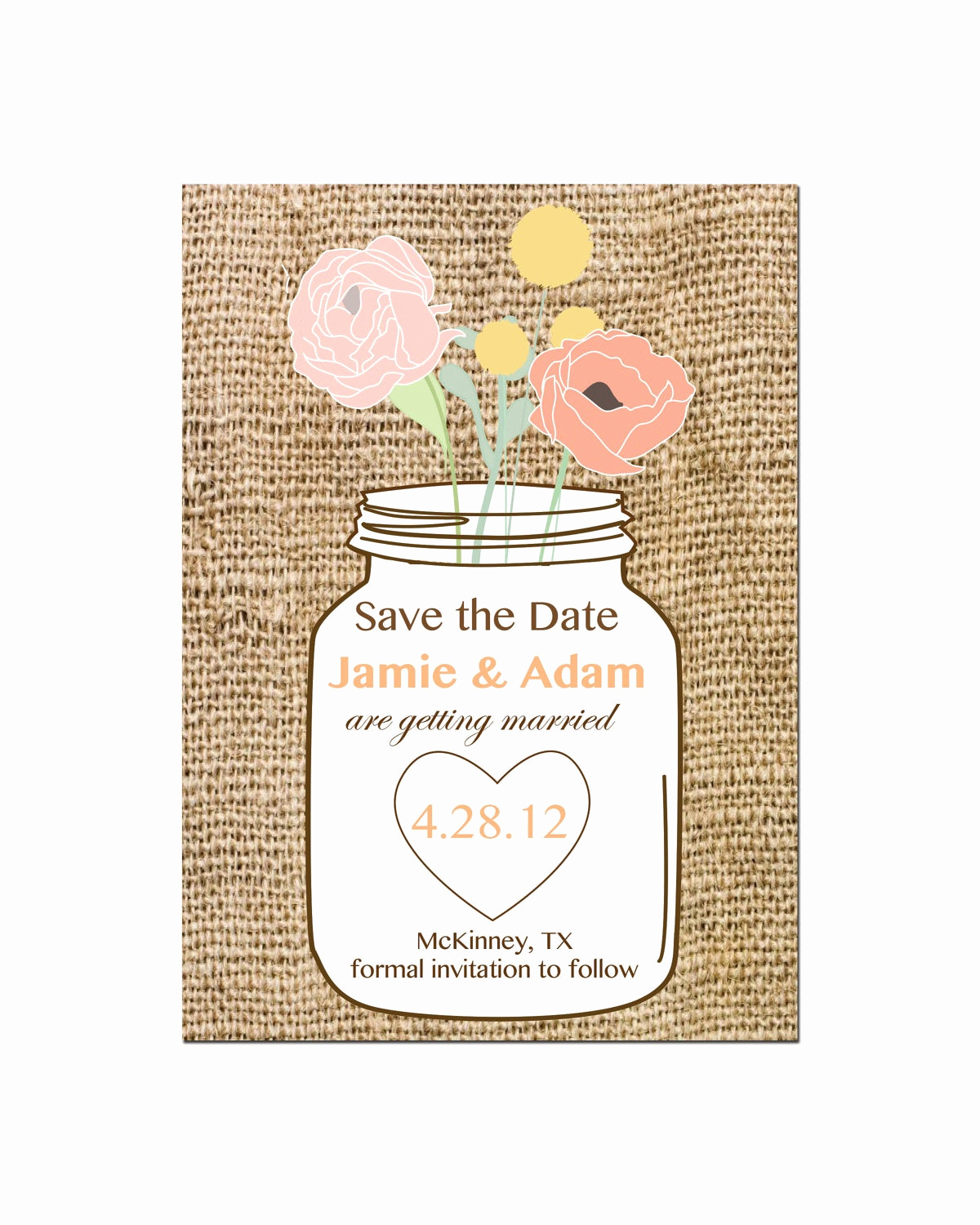 Mason Jar Invitation Template Inspirational Mason Jar Save the Date Wedding Invitation by