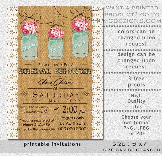 Mason Jar Invitation Template Inspirational Printable Burlap and Lace Elegant Pink Hydrangea Blue