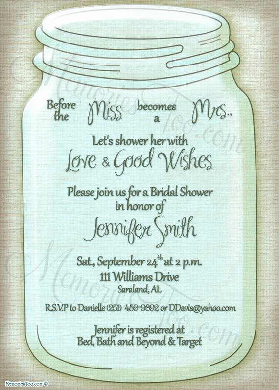 Mason Jar Invitation Template Lovely Mason Ball Jar Invitation Diy Printable Choose Your by