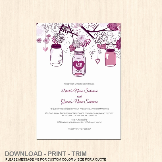 Mason Jar Invitation Template Unique Items Similar to Mason Jar Rustic Invitation Template Diy