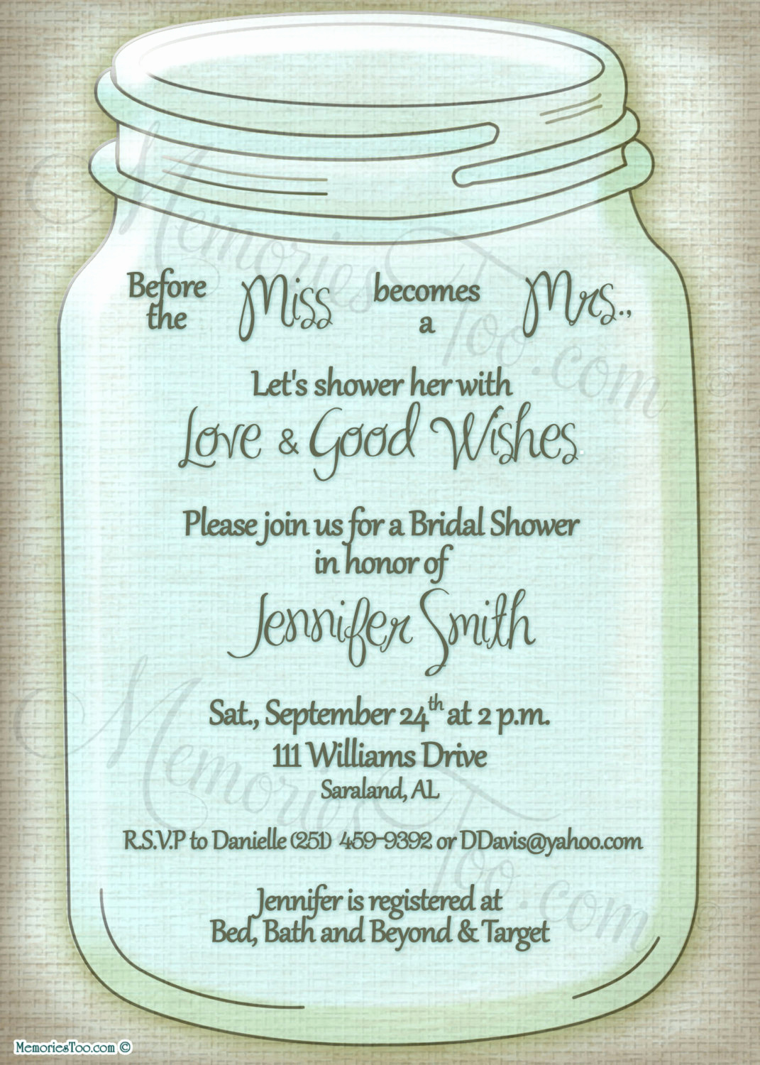 Mason Jar Invitation Template Unique Mason Ball Jar Invitation Diy Printable Choose Your by
