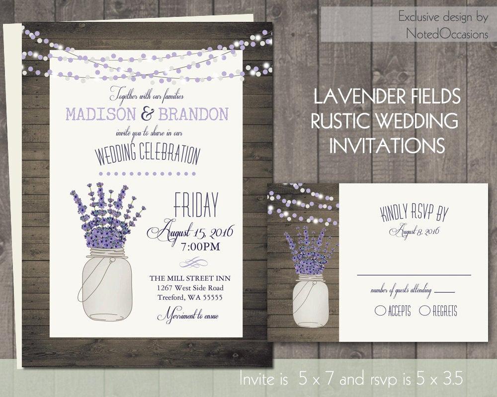 Mason Jar Wedding Invitation Template Awesome Mason Jar and Lavender Wedding Invitation Rustic Mason Jar