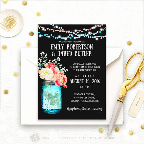 Mason Jar Wedding Invitation Template Beautiful Chalkboard Wedding Invitation Printable Mason Jar & Watercolor