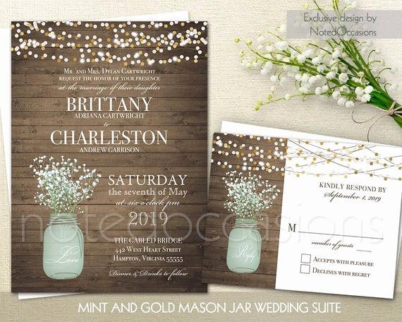 Mason Jar Wedding Invitation Template Beautiful Mason Jar Wedding Invitation Printable Set Mint by