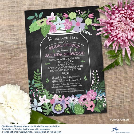 Mason Jar Wedding Invitation Template Best Of Chalkboard Mason Jar Floral Bridal Wedding by Starstreamdesign