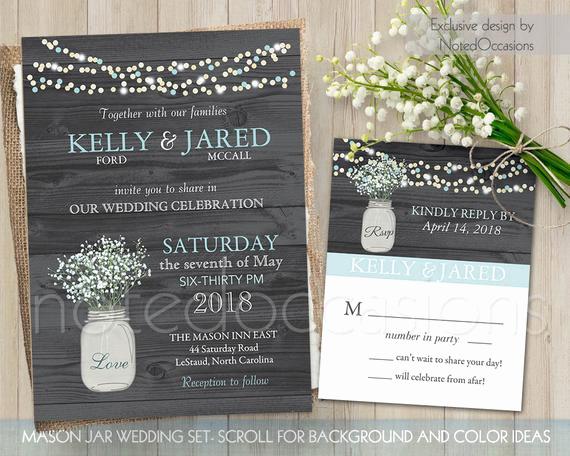 Mason Jar Wedding Invitation Template Best Of Rustic Mason Jar Wedding Invitation Set Rustic by