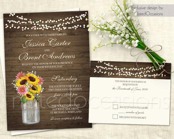 Mason Jar Wedding Invitation Template Elegant Mason Jar Wedding Invitation Printable Set Rustic Wedding