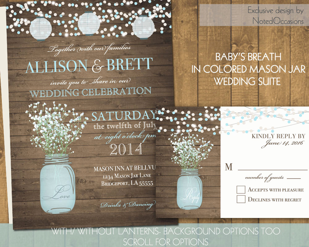 Mason Jar Wedding Invitation Template Elegant Mason Jar Wedding Invitations Suite Rustic by Notedoccasions